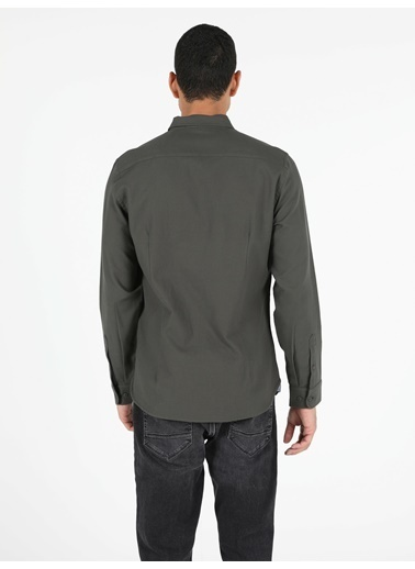 Colin's Colin'S Pamuklu Kesim Shirt Neck Uzun Kol Erkek Gömlek Haki
